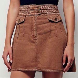 Free People Skirts - Free People Braided Baby Brown Denim Mini Skirt 0